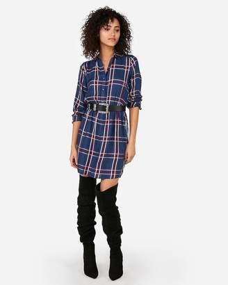 Express Plaid Popover Shirt Dress