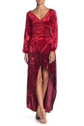 Couture Go Velvet Faux Wrap Dress