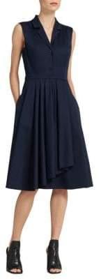 Donna Karan Ruffle-Skirt Shirt Dress