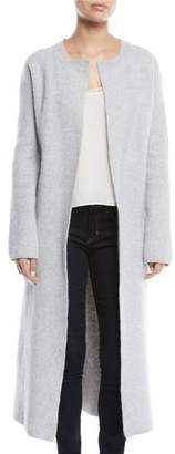 Brock Collection Koffi Long Belted Wool-Cashmere Duster Cardigan w/ Flower Detail