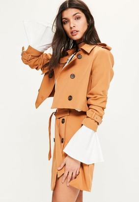 Tan Cropped Trench Jacket $56 thestylecure.com