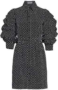 Michael Kors Women's Ruched-Sleeve Cotton Shirt Dress