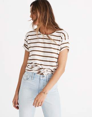 Madewell Whisper Cotton Knot-Front Tee in Myers Stripe