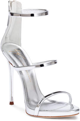 Giuseppe Zanotti Harmony 120 silver metallic leather sandals