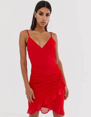 8a8fdee1406 Red Frill Wrap Dress - ShopStyle UK