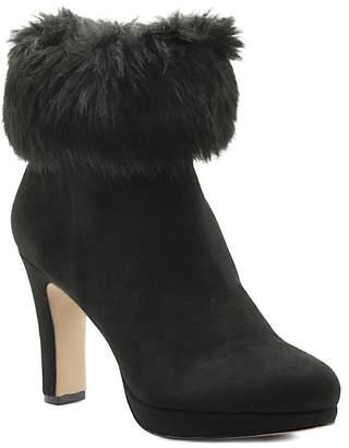 Adrienne Vittadini Peeve Faux Fur Trim Heel Bootie