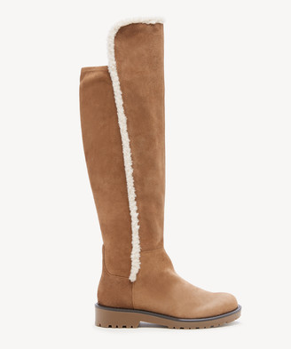 Sole Society Women's Juno Faux Shearling Suede Stretch Boots Honey Size 5 From