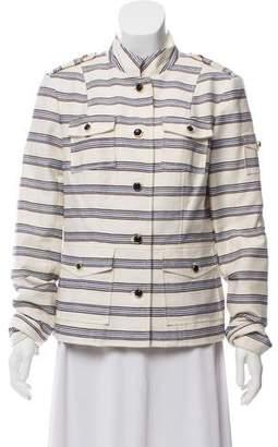 Tory Burch Striped Mandarin Collar Jacket