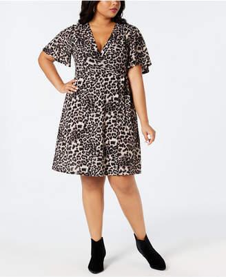 Soprano Plus Size Cheetah-Print Wrap Dress