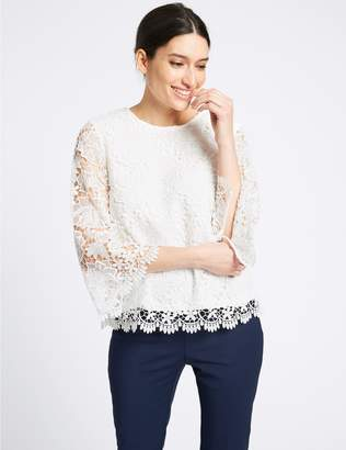 Marks and Spencer Lace Round Neck 3⁄4 Sleeve Blouse