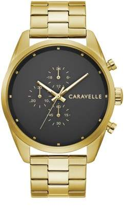 Bulova CARAVELLE Designed by Caravelle Gold-Tone Chronograph Watch, Black Dial - 44A113