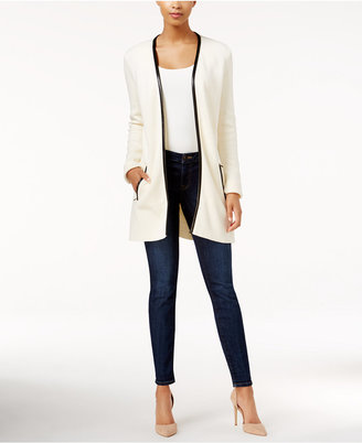 Charter Club Faux-Leather-Trim Cardigan, Only at Macy's $89.50 thestylecure.com