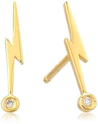 Lightning Bolt Shy by SE Stud Earrings with Diamond Bezel