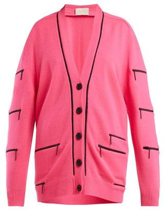 Christopher Kane Zip Detail V Neck Cashmere Cardigan - Womens - Pink