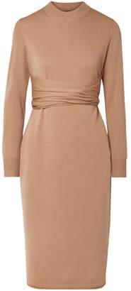 Proenza Schouler Belted Stretch Wool-blend Dress - Beige