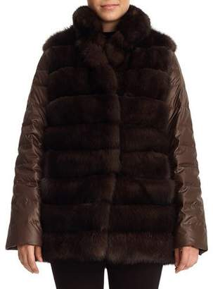 Gorski Sable Fur & Silk Two-Piece Down Jacket