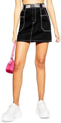 Topshop Contrast Stitch Utility Skirt
