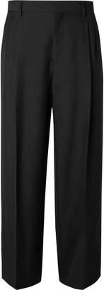 Loewe Black Wide-Leg Pleated Wool-Twill Trousers - Men - Black