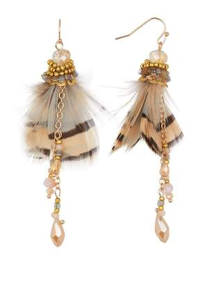 Leslie Danzis Beaded Feather Cluster Earrings