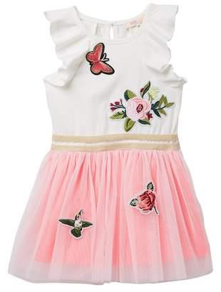 Truly Me Ruffle Sleeve Twofer Dress (Toddler & Little Girls)