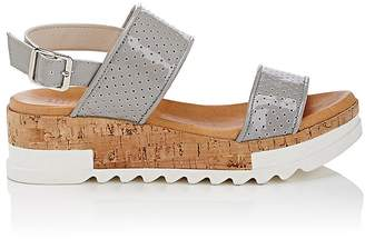 Barneys New York Women's Perforated Patent Leather Platform-Wedge Sandals $215 thestylecure.com