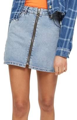 Topshop Zip Through Denim Skirt