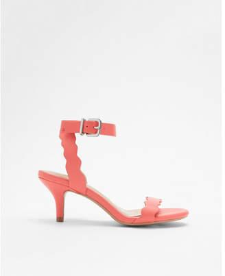 Express round toe scalloped kitten heeled sandal