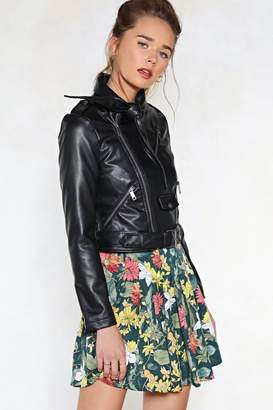 Nasty Gal Bow Worries Faux Leather Moto Jacket