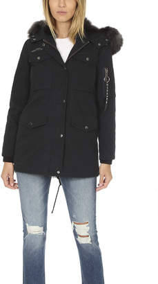 Jocelyn Washed Cargo Coat with Fur Lining
