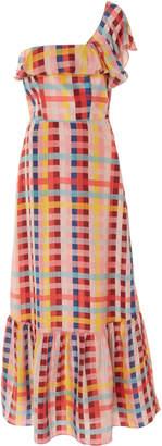 Carolina K. Una One-Shoulder Silk-Chiffon Maxi Dress