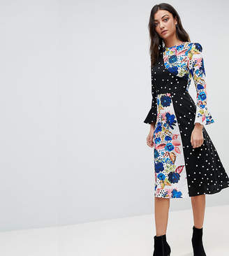 Asos Tall TALL Spot and Floral Midi Dress With Fluted Sleeve