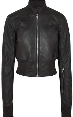 Rick Owens Brushed-leather Bomber Jacket - Black