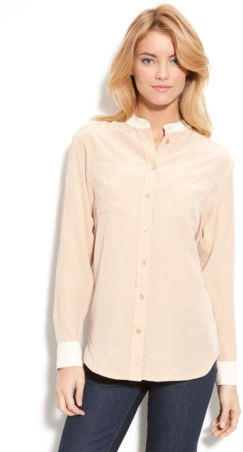 Equipment 'Bailey' Contrast Cuff & Collar Shirt