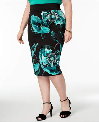 Alfani Plus Size Printed Pencil Skirt