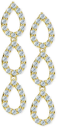 Giani Bernini Cubic Zirconia Pave Triple Drop Earrings in 18k Gold-Plated Sterling Silver, Created for Macy's