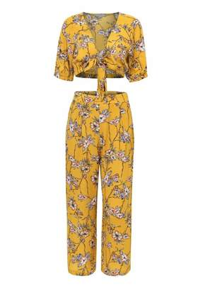 Goodnight Macaroon 'Bosca' Floral Crop Top Wide Leg Pants Co-ord