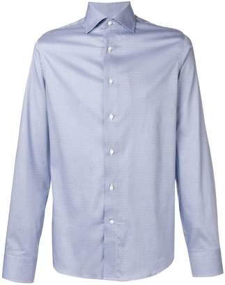 Canali geometric print spread collar shirt