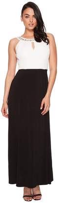 Sangria Keyhole Gown with Beaded Neck Women's Dress