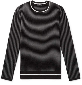 Theory Kortes Striped Ribbed-Knit Sweater - Black