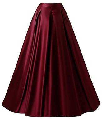 PROMLINK Women's High Waist A-Line Skirt Satin Long Prom Evening Dress with Pockets