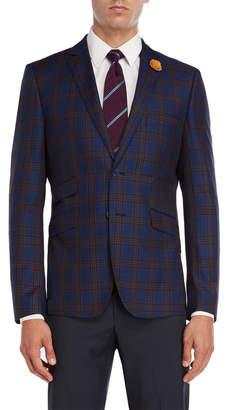 English Laundry Blue & Tan Plaid Sport Coat
