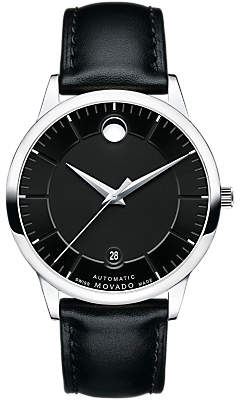 Movado 0606873 Men's 1881 Automatic Date Leather Strap Watch, Black