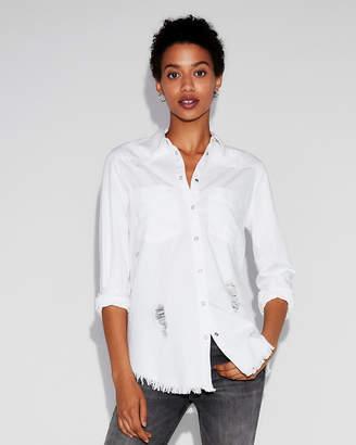 Express Deconstructed Denim Boyfriend Shirt