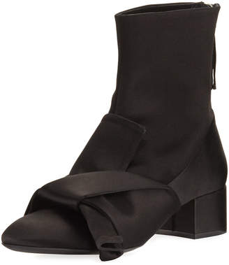 No.21 No. 21 Satin Bow Block-Heel Boots, Black