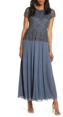 Pisarro Nights Beaded Mock Two-Piece Gown