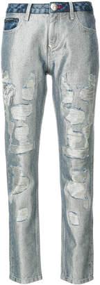 Philipp Plein glitter distressed boyfriend jeans