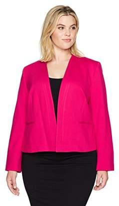 Nine West Women's Plus Size Solid Ponte Kiss Front Jacket