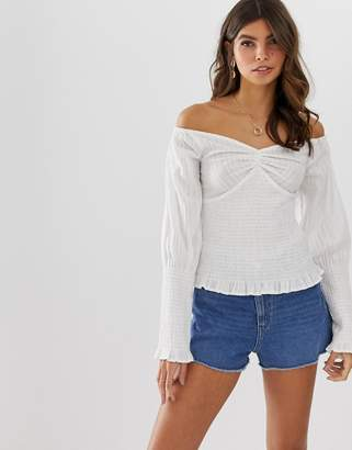 3baa49c29f2a1 Asos Design DESIGN long sleeve off the shoulder top with shirring detail