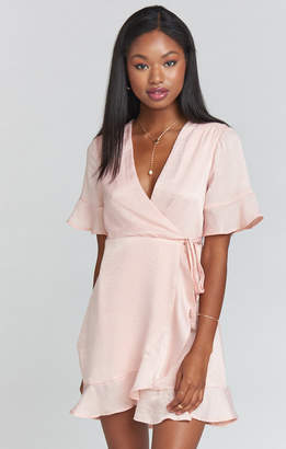 Show Me Your Mumu Evelyn Mini Wrap Dress ~ Icy Pink Sheen