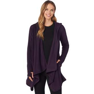 Cuddl Duds Plus Size Fleece Hooded Wrap Cardigan